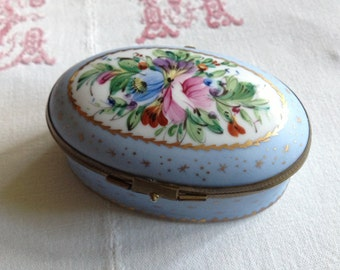 French A M R Limoges Hand Enameled Porcelain Trinket Box ~ Oval Blue Pastel Floral ~ Collectable