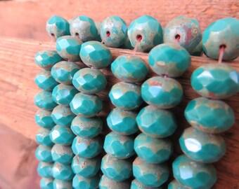 Back in STOCK !!! Western Sky Turquoise Blue Premium Czech Beads 8x6mm Rondelles  (1/2 strand  12 beads -or- Full Strand 25 beads )
