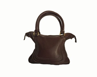 Pebble Grain Leather Bag in Chocolate Brown