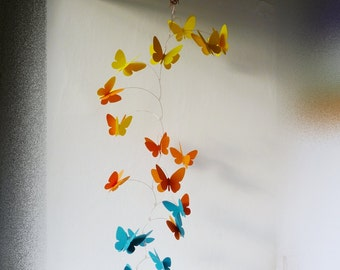 3D Butterfly Mobile, Kinetic mobile, Hanging mobile, Nursery decor, Yellow, orange, azure blue butterflies mobile