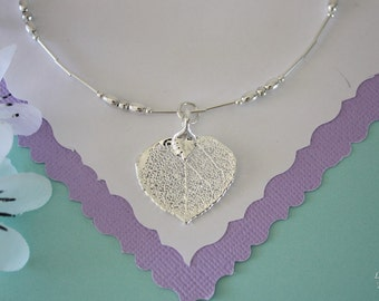 Bridesmaid Leaf Anklet, Bride Gift, Aspen Anklet, Real Leaf Charm, Sterling Silver Adjustable Anklet, Wedding Jewelry, Silver Aspen