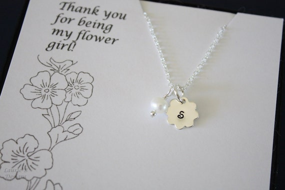 Flower Girl Necklace, Thank You card, Girl Necklace, Pearl Necklace, Initial Necklace