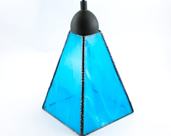 Aqua Blue Glass Pendant Lighting, Unique Hanging Lamp, Kitchen Island Light Fixture, Stained Glass, Swag Lamp, Custom Sizes Available