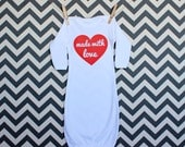 Made with Love Heart Long Sleeve Baby Gown