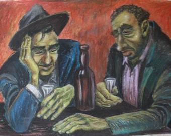 Original Painting Bar Buddies by Eugene Myers Andy Warhol Classmate at Carnegie Art School