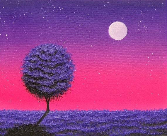 Purple Tree Nightscape Art Print, Purple Night Sky, Starry Pink Night Illustration, Contemporary Art Night Landscape, Full Moon Night Scene