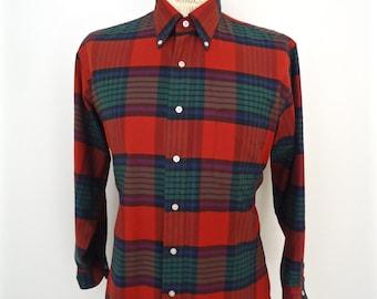 L.L.Bean Plaid Oxford Cotton Button-down Shirt / vintage red, green, blue & black preppy pattern OCBD / men's medium