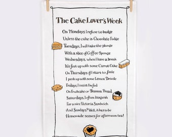 Tea Towel Cake Poem Tea Towel Gift For Cake Lover Gift For Baker Dish