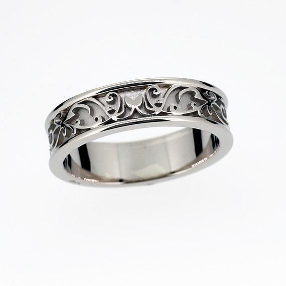 Wide filigree wedding ring mens wedding ring by TorkkeliJewellery