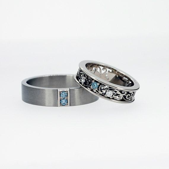 Aquamarine Wedding Ring Set Men's Palladium Wedding Band