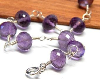 Purple Amethyst bracelet, wire wrapped bracelet, sterling silver bracelet, Amethyst jewelry, February birthstone