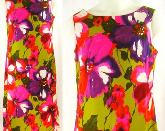 Vtg 60s-70s MOD cotton barkcloth ~HUKILAU FASHIONS~ Tiki Luau Floral Shift Dress  sz 10/M
