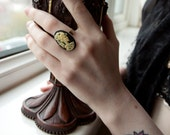 Lolita Day of the Dead cameo ring, dust and bones, antique macabre.