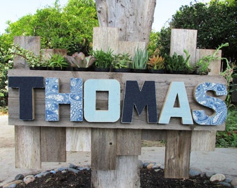 Personalized Family Name Planter Sign, Rustic Beach Home Decor (Made to Order)