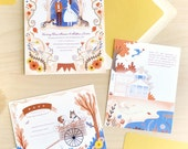 Sunflower Barn with Bulldog and Pitbull Custom illustrated Wedding Invitation, RSVP, portrait and Accommodation card in yellow and blue
