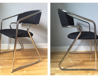 SALE!! FREE SHIPPING! Mod Chrome Chair Updated with Black Fabric, Vintage Loewenstein Chrome Chair