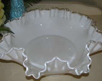 FENTON White MILK GLASS Bowl Double Crimped Edge Silver Crest Bowl
