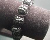 Black Pave' Bead Macrame Shamballa Style Bracelet (Rock Steady Collection)