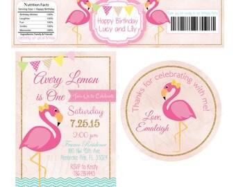 Pink Flamingo Pool Party Birthday Party Set