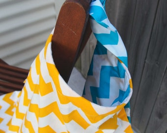 Breastfeeding/ Modesty Cover Blue Chevrons and