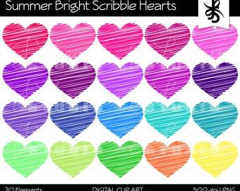 Digital Clipart-Scribble Hearts-Summer Bright Colors-Doodle Hearts-Heart Graphics-Digital Scrapbook Elements-Instant Download Clip Art