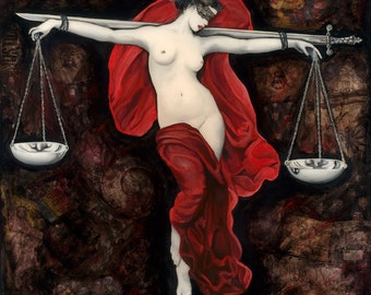 Lady Justice, Art Print, Political, Philosophical Wall Decor