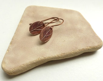 Rustic Copper Dangle Earrings - Copper Drop Earrings - Copper Leaf Earrings - Rustic Earrings - Rustic Jewelry - Birthday Gift for Her