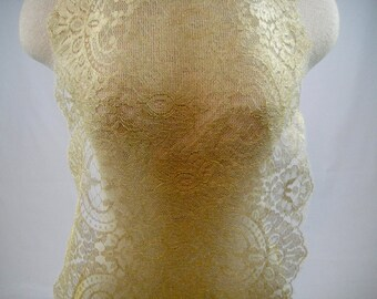 Gold Chantilly Lace, Gold Trim, Trimming, Gold, Lace Fabric, Lace Remnant, Beautiful Lace, Gold Lace, Lace Fabric, Lace Material