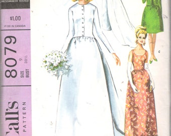 Vintage 1965 McCall's 8079 Bride or Bridesmaid Dress or Evening Dress & Jacket with Train Sewing Pattern Size 9 Bust 30 1/2""