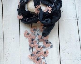 Silk Wrap Scarf, Boho Silk Necklace, Crochet Necklace, Oya Beaded Necklace, Peach Flower Foulard, Jewelry Scarf, Beadwork, Crochet Jewelry