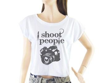 Camera I Shoot People shirt women shirt cropped tee crop tops