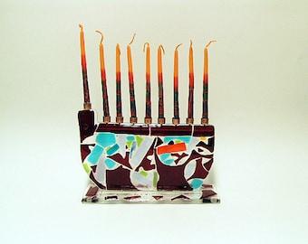 Hanukkah menorah, Hannukah Fused glass art menorah , Handmade Menorah, Fused glass menorah, Hanukkah fused glass menorah, Glass hanukkiah