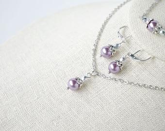 Purple Pearl Necklace, Earrings, Bracelet Gift Set - Bridesmaid Gift - Purple Jewelry