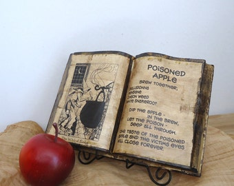 Poisoned Apple, witch spell, Halloween party decor, Haunted House Prop, snow white apple, reclaimed book, One of a kind unique