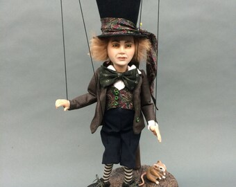 ooak Mad Hatter male Alice in Wonderland man puppet marionette art doll sculpture fae faeries fairy
