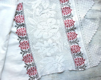 1870s Antique hand embroidered towel wedding towel hand embroidery cross stitch Ukrainian hemstitch crochet lace folk rustic cottage chic