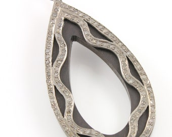 Pave Diamond Pendant, Pave Wood Oval Pendant, Diamond Wood Oval Charm, Pave Art deco, Diamond Wood Charm, Pave Connector. (DCH/PDT/83)