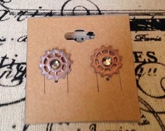 Crystal Gear Stud Earrings