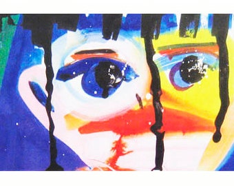 Child with Blue Eyes.  Portrait.  Child with expressive face.  Abstract.  A whimsical art print. Eye contact.  Expressionism.