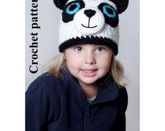 Panda crochet winter hat animal pattern for winter in 4 sizes by Akroche Tatuk. In french and english.