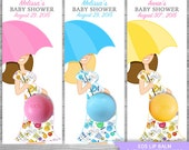 Eos Favors Umbrella Baby Shower -Eos lip balm holder - DIY Favor Tags - Eos Baby shower favors