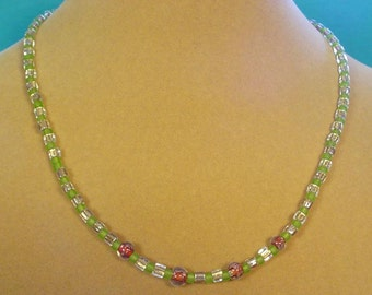 """18"""" Green, Gold and Copper Glass Necklace - N338"""
