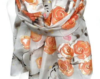 Hand Paint Silk Scarf. Rose Scarf. Anniversary Birthday Gift. Foulard Soie. Silk Shawl Painting. Woman Orange scarf. 18x71in. Ready2Ship