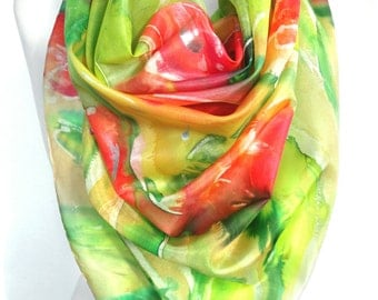 Hand Paint Silk Scarf. Square Silk Scarf. Art to Wear. Silk Painting. Mother Gift. Tulips Scarf. Wearable Art. 35x35in. Ready2Ship.