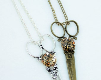 Leopard Cheetah Jungle Print Hair Stylist Scissor Charm Necklace With or Without Earrings