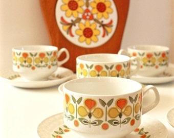 Mid Century Modern Coffee Cups Set of 6 pairs Ironstone  by Pontessa Spain