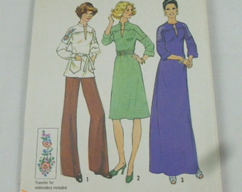 7272 Simplicity Size 16 1/2 Pattern Bust 39 Half Size Dress in Two Lengths or Top in Misses & Half-Sizes Vintage 1975 Uncut