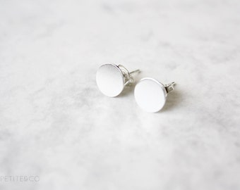 silver tone disc post stud earrings - simple, dainty, geometric, minimalist jewelry - gift for her