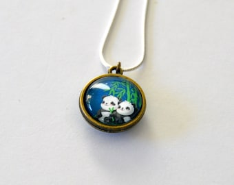 Starry Night Panda Double Side Necklace