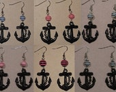 Pirate Booty Striped Nautical Rockabilly Earrings - Black Anchor with Bead (Navy Blue, Red, Pink, White Black Stripe)